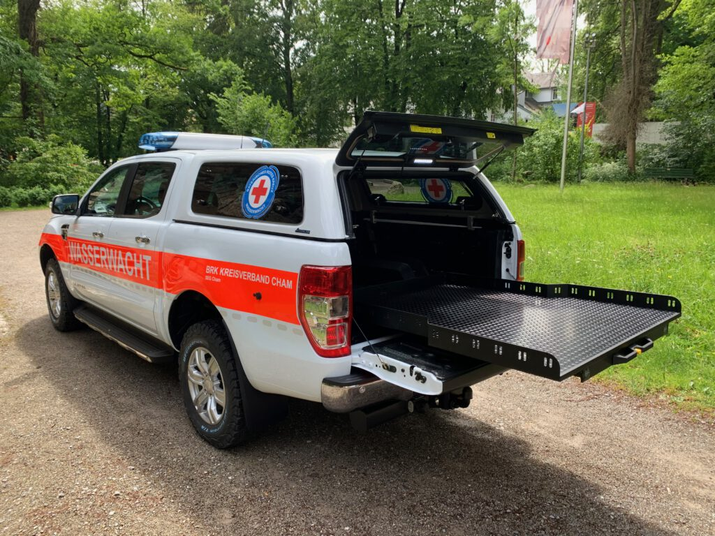 Heck-Auszug am Ford Ranger der Wasserwacht Cham